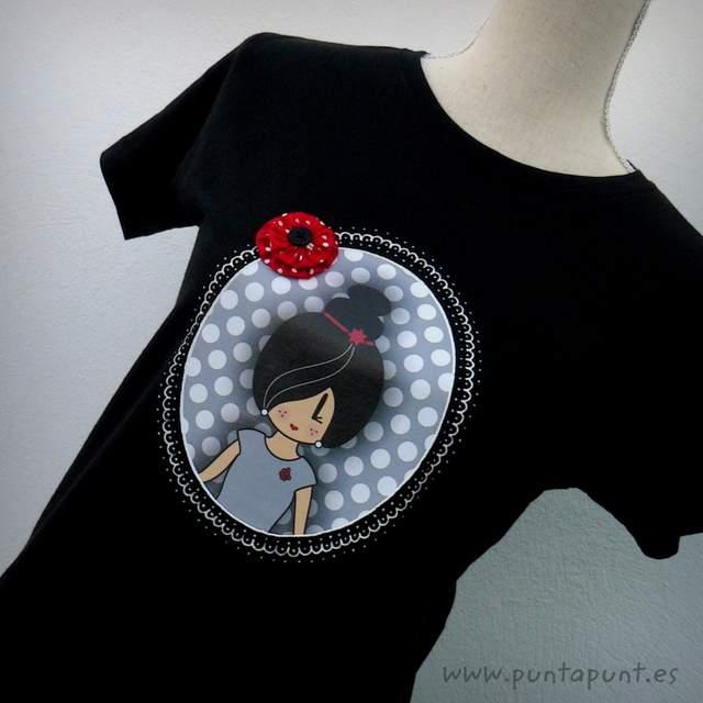 camiseta personalizada a mano pepetta gris punt a punt-001