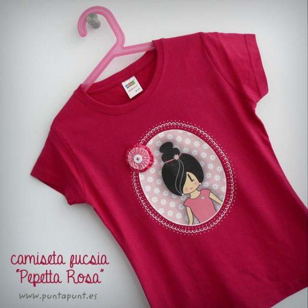 camiseta personalizada a mano pepetta rosa punt a punt-001