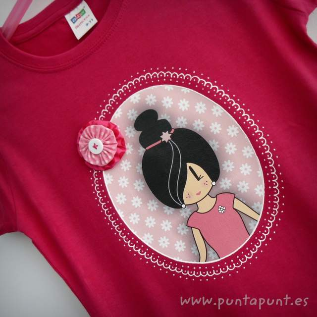 camiseta personalizada a mano pepetta rosa punt a punt-002