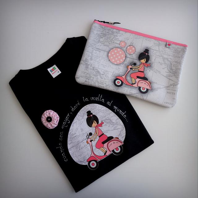 camiseta personalizada moto rosa vuelta al mundo punt a punt-002