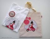 camiseta personalizada y bolsa cotton vuelta al mundo rojo punt a punt