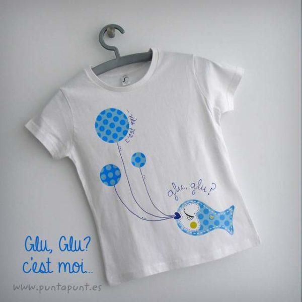 Camiseta personalizada «Glu,glu…c'est moi» y set camiseta + bolsa