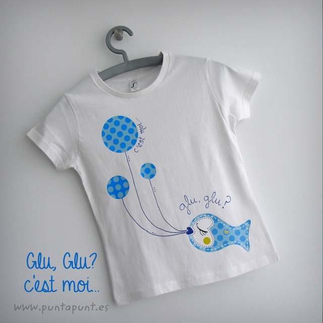 "Camiseta personalizada ""Glu,glu…c'est moi"" y set camiseta + bolsa"