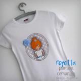 camiseta primera comunion personalizada pepetta azul punt a punt