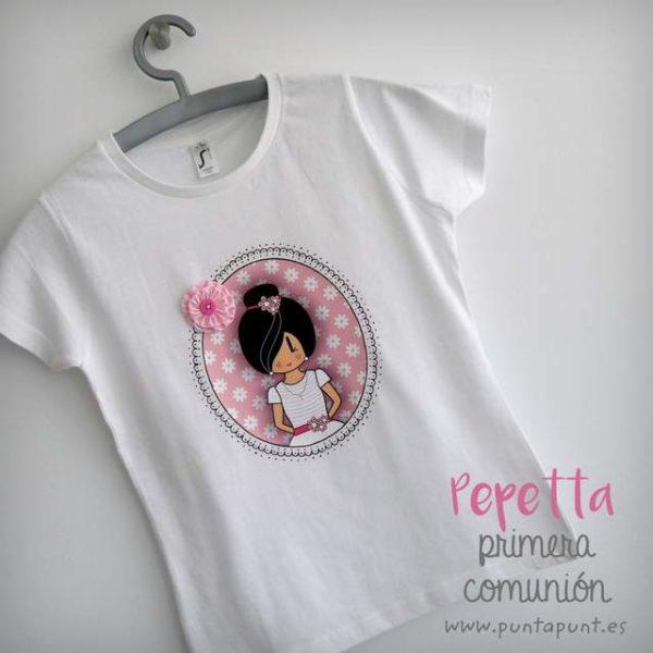 camiseta primera comunion personalizada pepetta rosa punt a punt