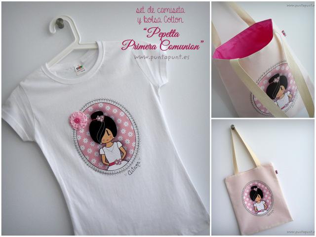 camiseta y bolsa regalo primera comunion punt a punt