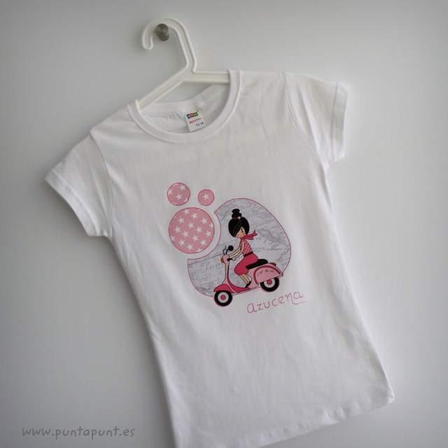 camiseta artesanal bon voyage rosa personalizada punt a punt