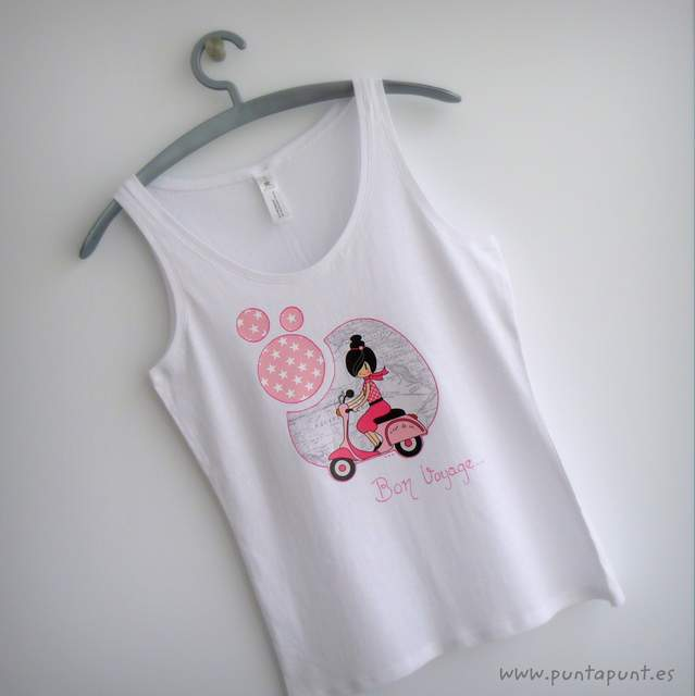 camiseta artesanal bon voyage rosa tirantes punt a punt