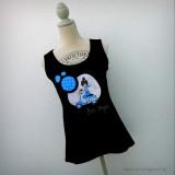 camiseta bon voyage azul tirantes negra punt a punt