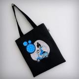 bolsa cotton negra bon voyage azul punt a punt