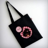 bolsa cotton negra nicca pink punt a punt
