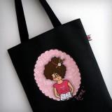 bolsa cotton nicca profesora negra y rosa personalizada punt a punt-001