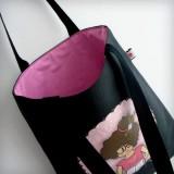 bolsa cotton nicca profesora negra y rosa personalizada punt a punt-002