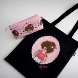 bolsa cotton nicca profesora negra y rosa personalizada punt a punt-003