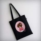 bolsa cotton nicca profesora negra y rosa personalizada punt a punt