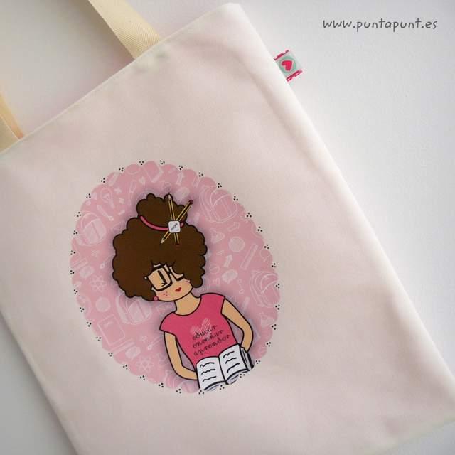 bolsa cotton personalizada para profesora nicca rosa punt a punt-001