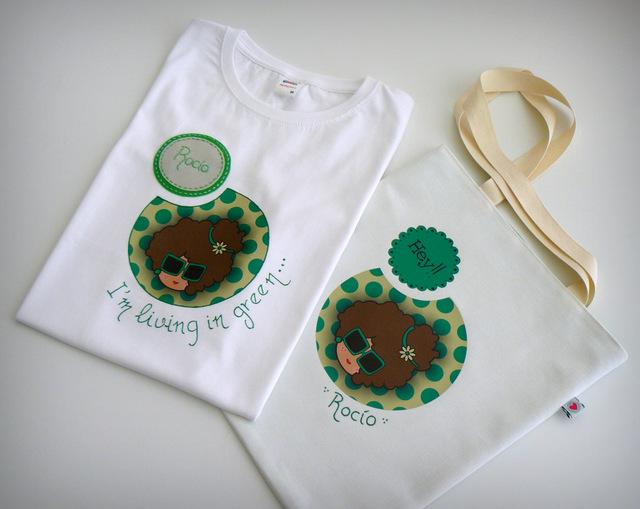 set camiseta personalizada y bolsa cotton nicca green blue punt a punt