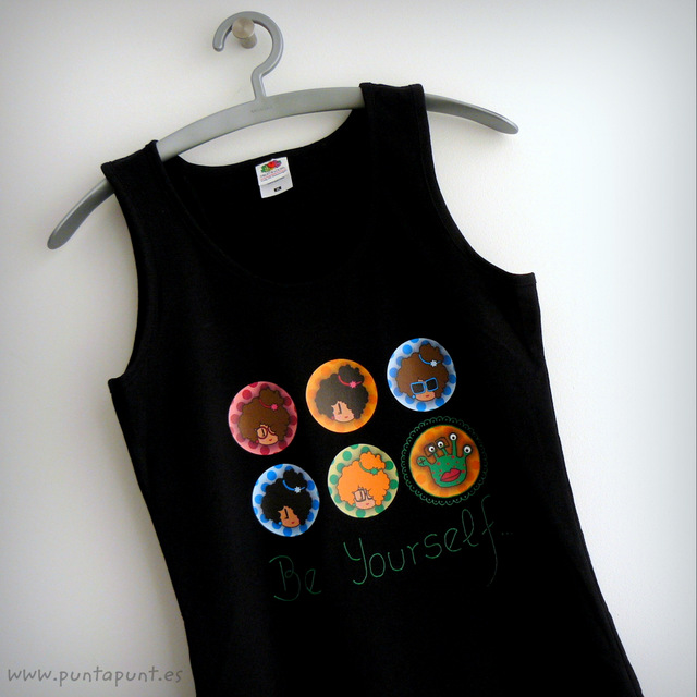 camiseta negra tirantes be yourself chica punt a punt