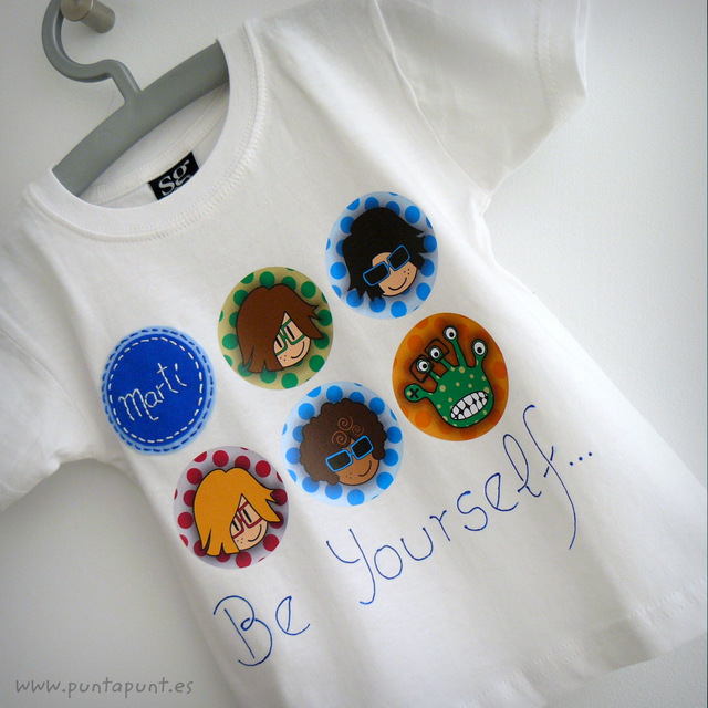 camiseta personalizada chico blanca be yourself punt a punt-001