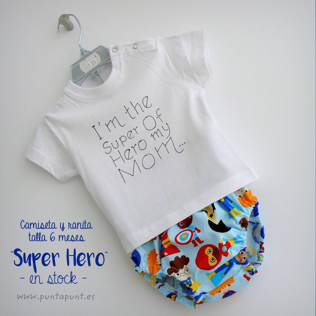 "Camiseta y ranita ""Super Hero"" talla 6 m – en stock"