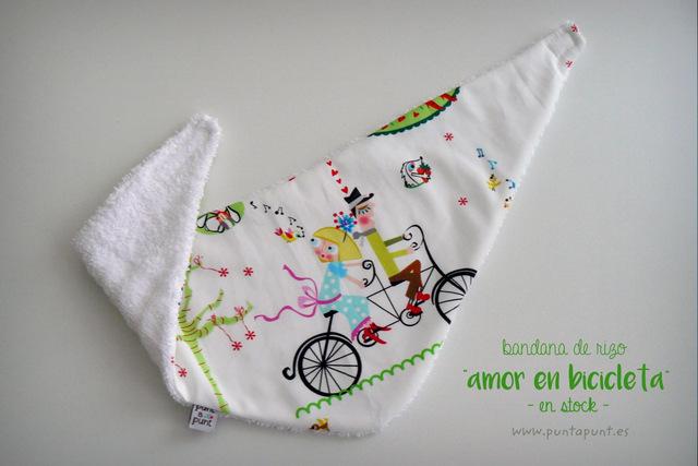 bandana de rizo para bebe amor en bicicleta en stock punt a punt