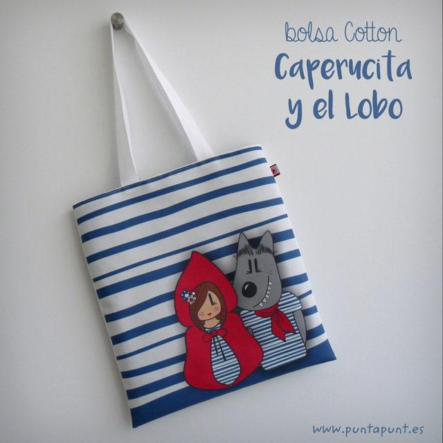 """Bolsa Cotton """"Caperucita y el lobo""""- surtidas"""