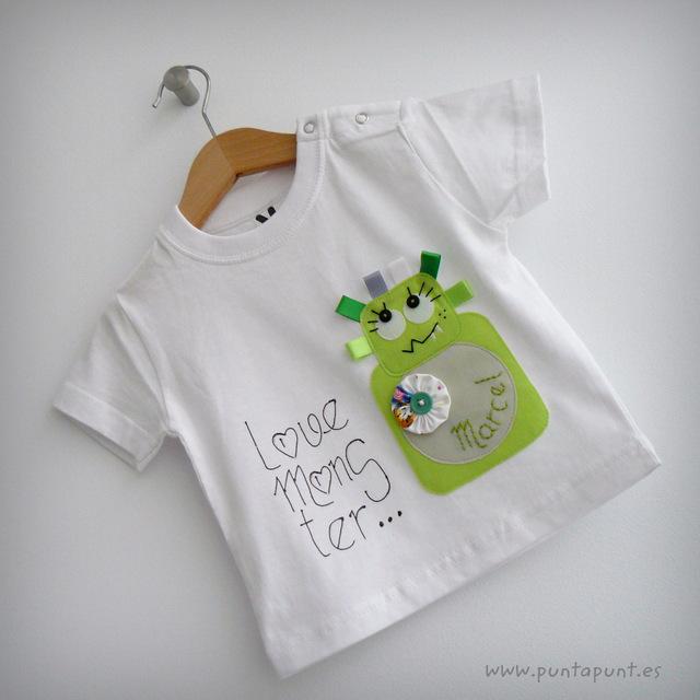 set infantil de camiseta personalizada y ranita love monster punt a punt-002