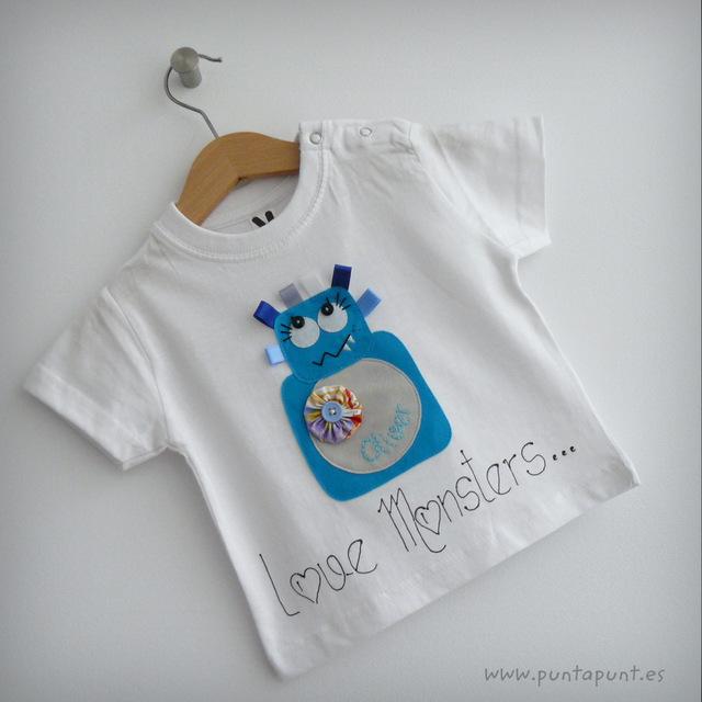 set infantil de camiseta personalizada y ranita love monster punt a punt-004