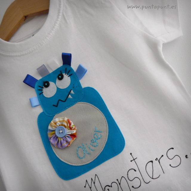 set infantil de camiseta personalizada y ranita love monster punt a punt-005