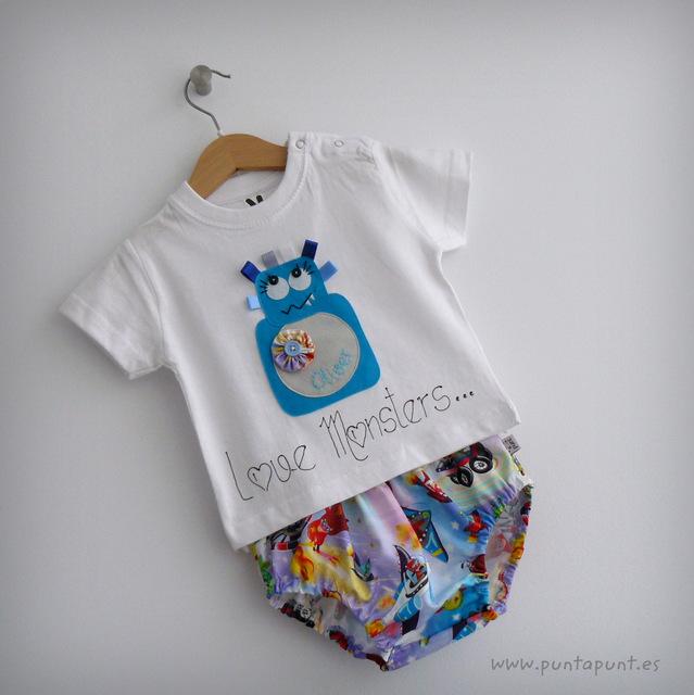 set infantil de camiseta personalizada y ranita love monster punt a punt-006