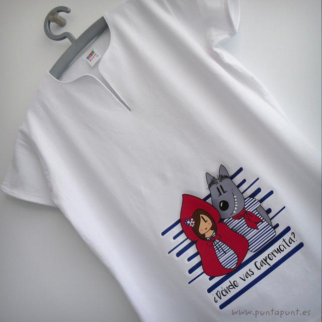 camiseta original para chica caperucita y lobo punt a punt-001