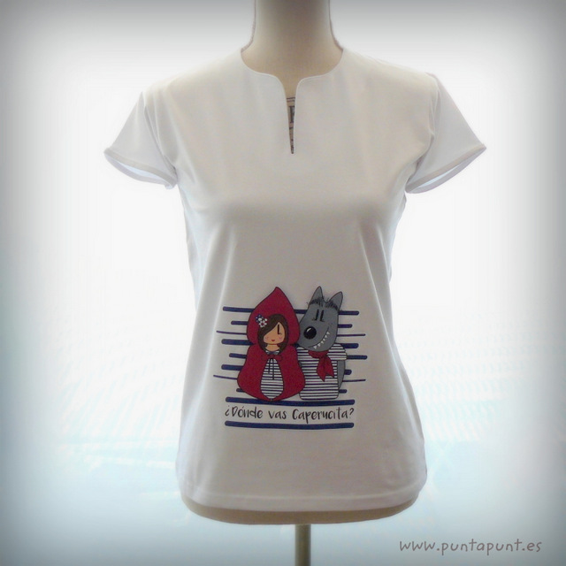 camiseta original para chica caperucita y lobo punt a punt-002