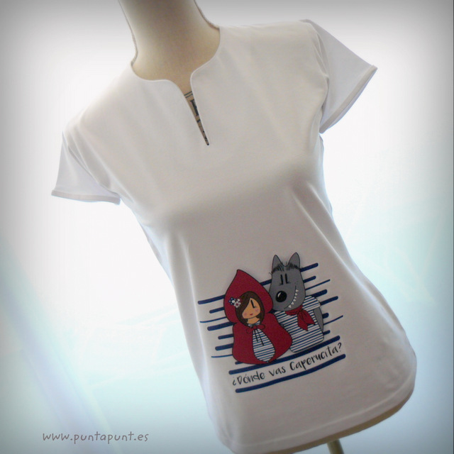 camiseta original para chica caperucita y lobo punt a punt-003
