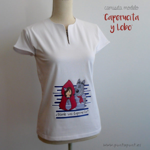 camiseta original para chica caperucita y lobo punt a punt-004