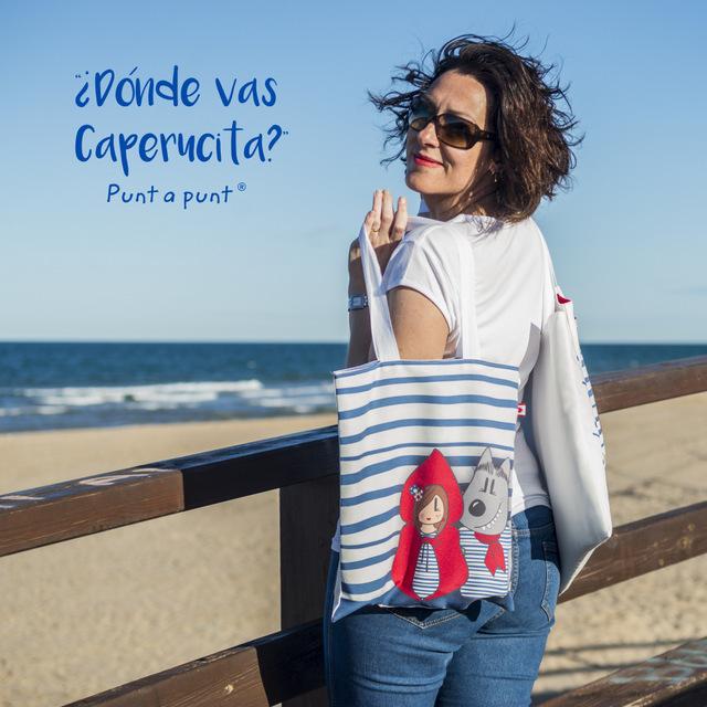 imagen web bolsa cotton y camiseta donde vas caperucita punt a punt-003