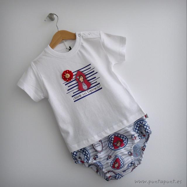 set de camiseta y ranita para bebe caperucita y el lobo punt a punt-002