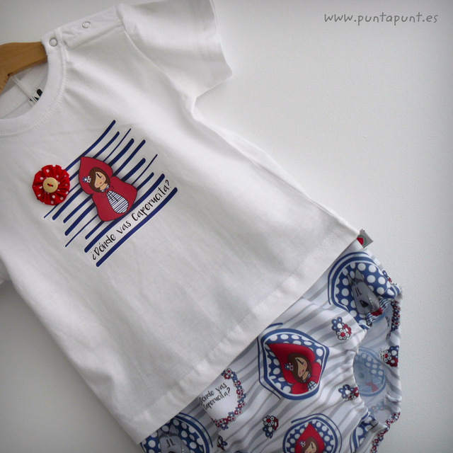 set de camiseta y ranita para bebe caperucita y el lobo punt a punt-003