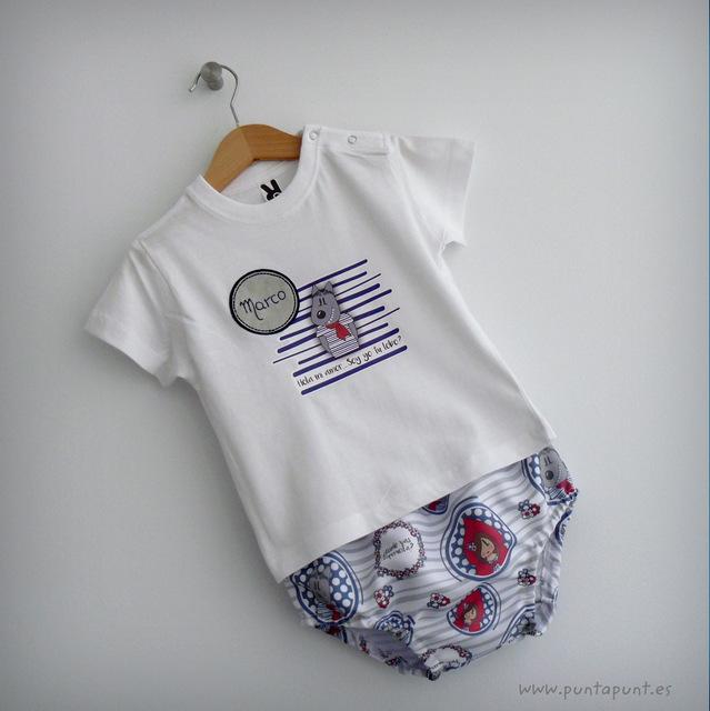 set de camiseta y ranita para bebe caperucita y el lobo punt a punt-007