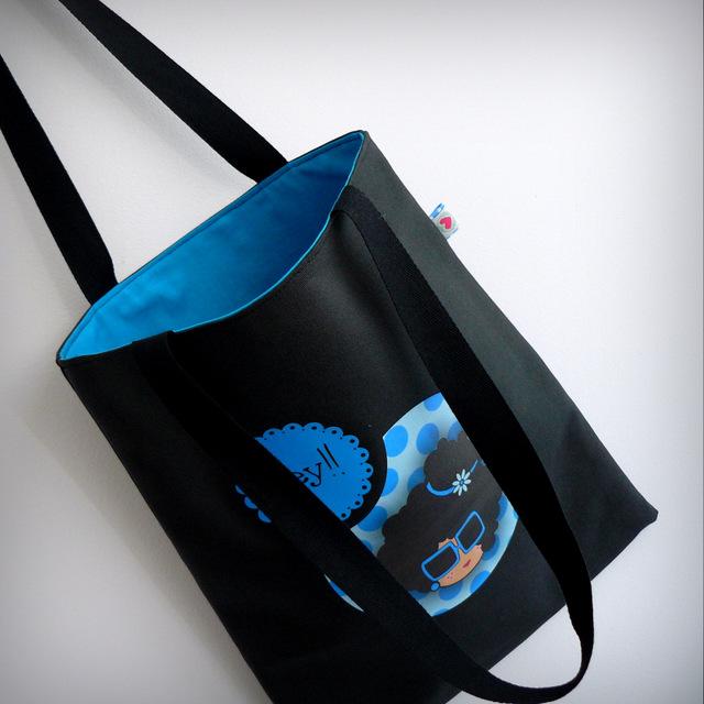 bolsa cotton negra nicca blue punt a punt