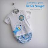 set de camiseta y ranita bebe modelo glu glu besugus punt a punt