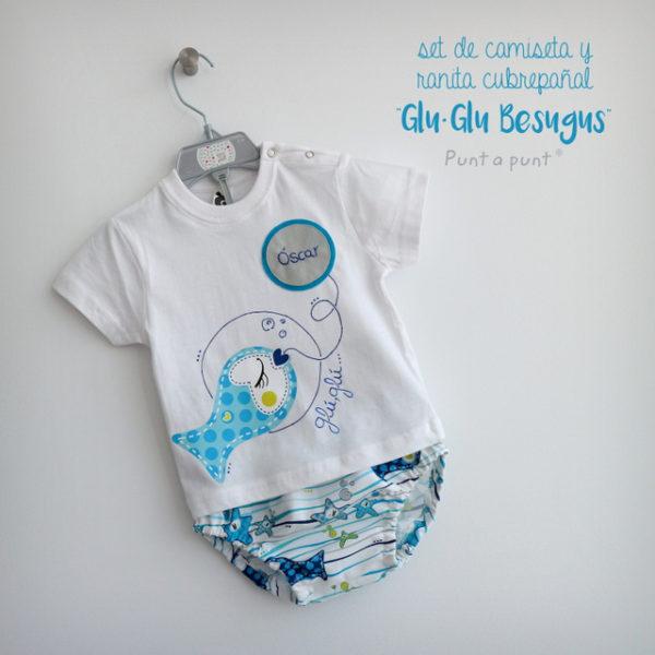 Set de camiseta y ranita «Glu·Glu Besugus…»