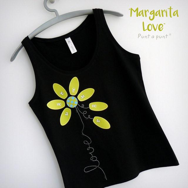 camiseta artesanal personalizada negra margarita love verde punt a punt