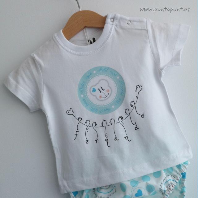 set camiseta y ranita osito azul personalizado punt a punt-001