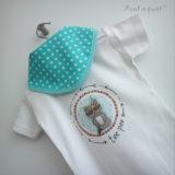 body personalizado de bebe con bandana a juego reversible punt a punt-005