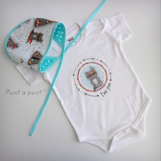 body personalizado de bebe con bandana a juego reversible punt a punt-007