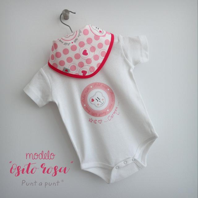 body personalizado de bebe con bandana a juego reversible punt a punt