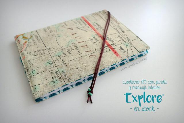 """Libreta con funda y mensaje """"Explore"""" – en stock"""