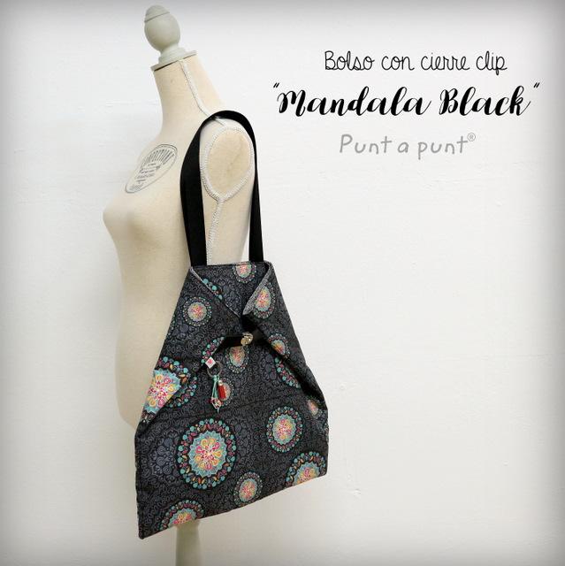 Bolso básico con cierre clip «Mandala Black» – en stock