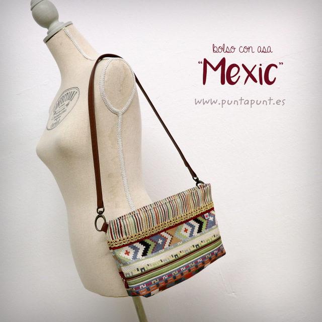 Bolso con cinta en símil «Mexic» – en stock
