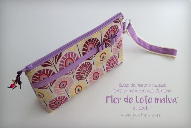 bolso de mano o neceser flor de loto stock puntapunt-004